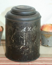 Antique Black Tole Tea Canister