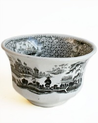 Early Antique Black Chinoiserie Transferware Tea Bowl
