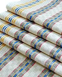 Antique Linen Drying Towel French Country Checks Blue Yellow Red