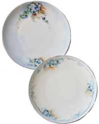 Antique Hand Painted Blue Floral Cabinet Plates Set of 2