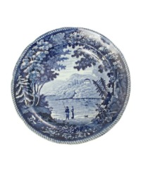 Early Antique Staffordshire Dark Blue Plate Italian Scenery Series