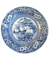 Early 19th Century Blue Transfer Plate with Sheep