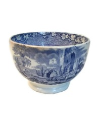 Antique Early Blue Transfer Scenic Tea Bowl