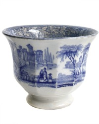Antique Blue and White Transfer Printed Tea Bowl