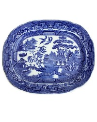 English Staffordshire Blue and White Willow Platter Small