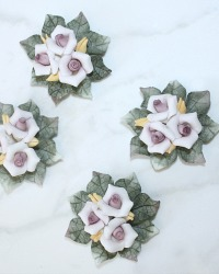Small Hand Made Porcelain Pink Roses Set of 4