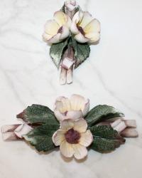 Estate Hand Made Porcelain Pink Wild Flowers Set of 2