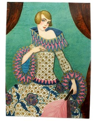 Art Deco Chromolithograph Gilded Girl with Feather Fan
