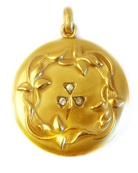 Antique Three Leaf Clover Locket
