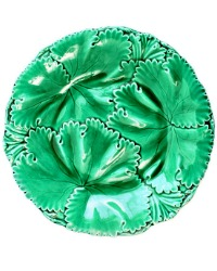 Early 19th Century Large Green Majolica Leaf Plate Copeland