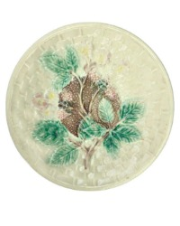19th Century Antique Cream Majolica Plate with Blackberries