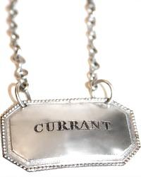 Estate Silver Plate Currant Liqueur Decanter Label