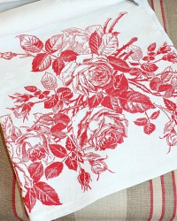 Incredible Antique Show Towel with Red Damask Roses
