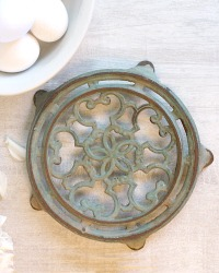 Antique French Dusty Aqua Blue Green Trivet