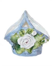 1920's Miniature Porcelain Large Blue Rose Basket