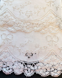 Antique Hand Embroidered White Towels with Lace Set of 2