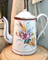 Antique French Hand Painted Enamelware Harvest Rose Coffee Pot