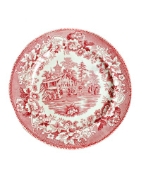 English Staffordshire Red & White Plate