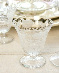 Antique Estate Etched Floral Glass Cocktail Glasses Set of 10