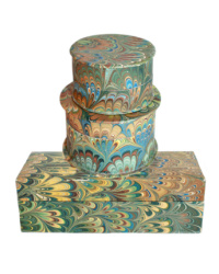 Hand Marbled Green Paper Florentine Box Collection
