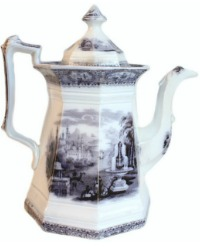 Antique Flow Blue Staffordshire Coffee Pot