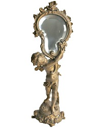 Antique French Gilt Bronzed Metal Cherub Table Vanity Mirror