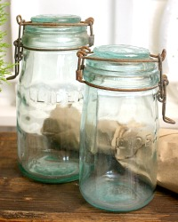 Vintage Set of 2 French Canning Jar Aqua Glass