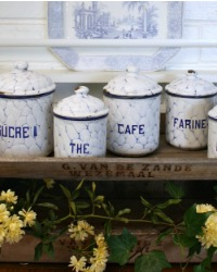 Antique French Enameled White and Blue Mottled Canister Set 5