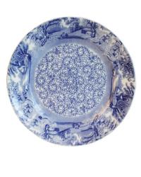 Antique Blue & White Transfer Plate Floral Center