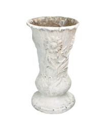 Antique French Art Nouveau Cast Iron Jardin Vase White