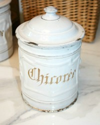 Antique French White Enameled Chicoree Canister