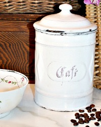 Antique French Art Deco White Enameled Cafe Canister