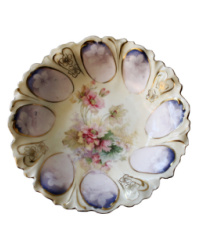 Antique Scalloped Floral Hand Painted and Transfer Berry Bowl Set 6