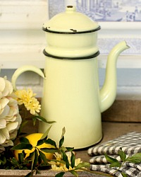 French Light Yellow Enamelware Biggin