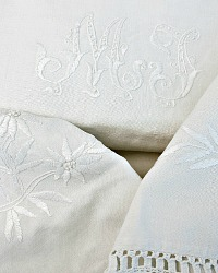 2 Stunning Antique Linen Pillow Shams Monogrammed M J