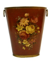 Antique French Country Merlot Red Tole Jardiniere