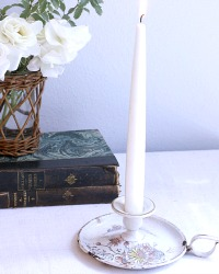 Antique French White Floral Enameled Candle Holder