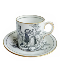Black and White Demi Tasse Cup & Saucer