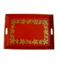 French Hand Painted Tole Tray Red with Gilt Grapes and Vines