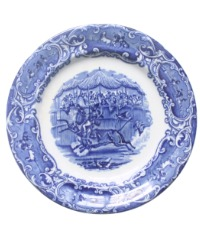 Antique Flow Blue Transfer Printed Plate with Horse and Bull