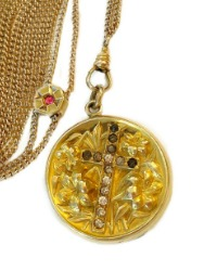 Antique Faithful Locket and Slide Chain