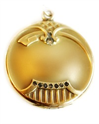Antique Gold Fill Round Locket with Paste Stones