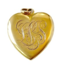 Victorian Gold Filled Heart Locket Double Monogrammed