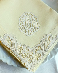 Vintage Soft Butter Yellow Linen and Needle Lace Napkins Set of 8