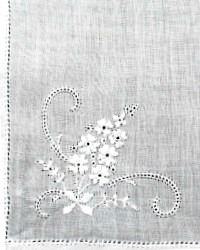 Vintage Linen Voile White Embroidered Floral Handkerchief
