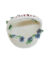 1920's Miniature Porcelain Flower Basket Forget Me Nots