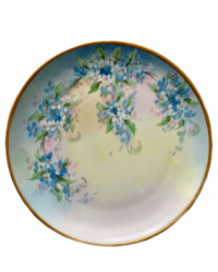 Antique French Limoges Hand Painted Small Plate with Forget-me-not Flowers