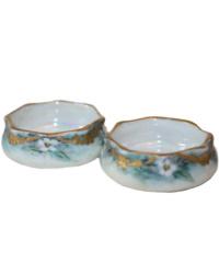 Antique Hand Painted Porcelain Salts Pair