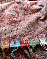 Antique Silk Paisley Blanket Throw Large