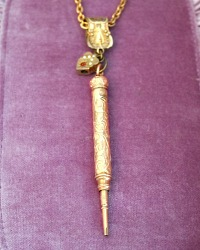Antique Gold Filled Lady's Ornate Pencil and Heart Slide Necklace